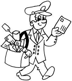Kleurplaten beroepen - postbode ~ Juf Milou Art Drawings For Kids, Cartoon Drawings, Toddler Art Projects, Crafts For Kids, Coloring Pages For Kids, Coloring Books, Test For Kids, People Who Help Us, Old Paper Background