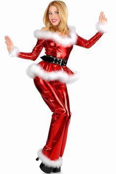 Punk santa off shoulder top and pants christmas costumes pinterest