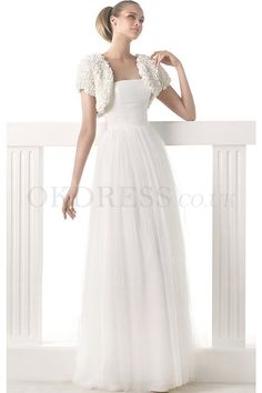 New Style Tulle Strapless Buttons Short Sleeves Wedding Dresses - by OKDress UK