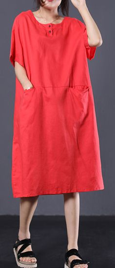 Organic short sleeve linen dress Online Shopping red Dresses summer The Effective Pictures We Offer You About REd dress winter A quality picture can t Summer Dress Outfits, Casual Summer Dresses, Winter Dresses, Dress Winter, Summer Maxi, Dark Red Dresses, Short Sleeve Dresses, Loose Dresses, Shop Red Dress