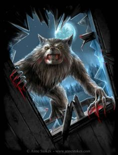 Werewolf at the window - Anne Stokes Anne Stokes, Howl At The Moon, Bark At The Moon, Fantasy Creatures, Mythical Creatures, Fantasy Kunst, Fantasy Art, Dragons, Apocalypse