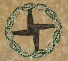 St Brigid's Cross Olive Green Embroideried by monkbagsandmore, $11.95