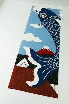 Carp blue fabric Japanese Tenugui cotton by japanmomijidesigns
