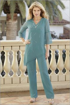 Elegant Two Pieces Mother Of The Bride Pant Suits With Long Sleeves Beaded Wedding Guest Dress Chiffon Plus Size Evening Dresses Mother Of The Bride Trousers, Mother Of The Bride Suits, Pantsuits For Women, Formal Dresses For Women, Evening Dresses Plus Size, Plus Size Dresses, Evening Gowns, Evening Party, Wedding Pantsuit