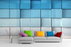 Fototapeta 3D blue cubes 6934 | 3D fototapety | Tapety 3D efekt | TAPETYMIX