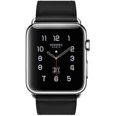 Apple Watch Hermès Single Tour, 42mm Stainless Steel Case with Noir... (£795) ❤ liked on Polyvore featuring jewelry, watches, leather band watches, hermès, stainless steel wrist watch, hermes jewelry and stainless steel watches
