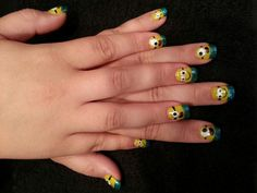 Gel polish Minions hand painted nail art by Gloria Weber