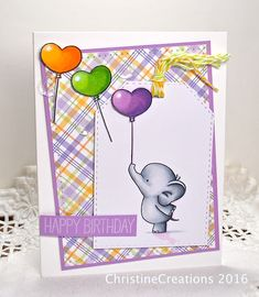 ChristineCreations: Purple Birthday Flip Cards, Cute Cards, Scrapbooking, Scrapbook Cards, Mama Elephant Cards, Confetti Cards, Bday Cards, Purple Birthday, Card Sketches