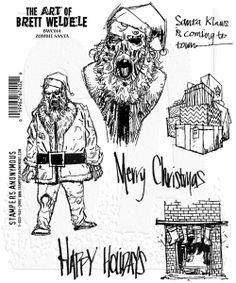Brett Weldele Cling Mount Stamps - Zombie Santa BWC014