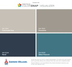 I found these colors with ColorSnap® Visualizer for iPhone by Sherwin-Williams: Colonnade Gray (SW 7641), Naval (SW 6244), Pavestone (SW 7642), Silken Peacock (SW 9059). Exterior Paint Colors For House, Interior Paint Colors, Paint Colors For Home, Peacock Paint Colors, Naval Sherwin Williams, Paint Color App, Teal Door, House Paint Color Combination, Matching Paint Colors
