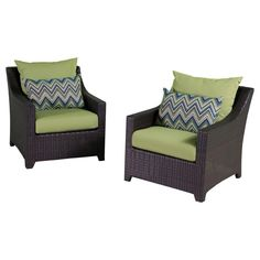 RST Brands Deco Club Chairs Bliss Blue Deco Set of 2 Outdoor Chairs with Cushion Ginkgo Green with Sunbrella Outdoor Furniture Chairs Accent Outdoor Living Furniture, Outdoor Chairs, Outdoor Decor, Furniture Chairs, Orange Cushions, Beige Cushions, Espresso, Sunbrella Fabric