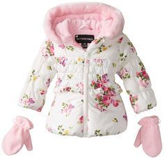 Rothschild Baby Girls Tonal Rose Print Jacket, Rose Floral, 18 Months