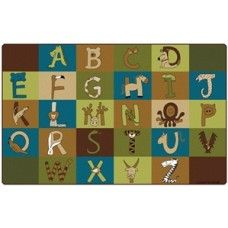 """Kids Rugs: A to Z Animals Nature - 7'6"""" x 12' Rectangle"""