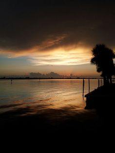 Sunset at bay in Englewood, Florida.