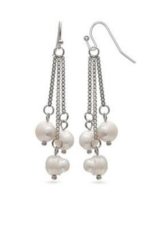 Jules B Women Day & Night Pearl Silver-Tone Fresh Water Pearls Linear Drop Earrings - Creme/Pear - One Size