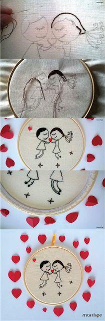 Bordado Namorados #artesanato #decoracao #namorados #diy #decor #criativo…