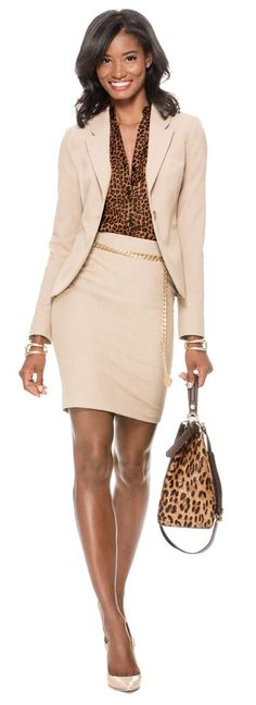 Accrue Interest - Create this look with our Collection One Button Jacket, Printed Ashton Blouse, Collection Angled Inset Pencil Skirt, Skinny Chain Belt and Curved Hinge Cuff Bracelet from THELIMITED.com
