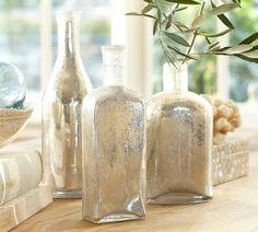 Bubble Mercury Glass Bottles, Set of 3  $79.00