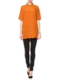 Long Caramel Crepe Shirt   No.21   Avenue32