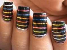 Striping tape nail art tutorial for beginners easy how to do nail art striping tape tutorial video Nail Striping Tape, Tape Nail Art, Tape Art, Nail Art Diy, Cool Nail Art, Diy Nails, Cute Nails, Pretty Nails, Nail Art Stripes