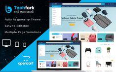 Techfork - Electronics Store OpenCart Template #87169 Ecommerce Website Design, Website Design Layout, Website Design Inspiration, Web Layout, Layout Design, Learn Web Design, Creative Web Design, Branding Portfolio, Best Website Templates