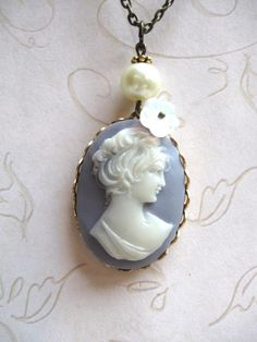 Vintage Blue Cameo Necklace. LOVE cameos and have several!