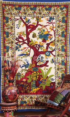 Tree Of Life - Hippie Hippy Wall Hanging Indian Tapestry Throw Bedspread Twin Bed Decor Sheet Ethnic Decorative Art on Etsy, $16.99