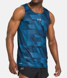 Men's UA HeatGear® Flyweight Run Singlet, Academy, zoomed image