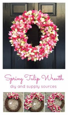 A quick and easy diy to make your own Spring Tulip Wreath. Perfect Tulip Wreath diy for your front door this Spring! Diy Spring Wreath, Spring Crafts, Holiday Crafts, Spring Wreaths For Front Door Diy, Winter Wreaths, Holiday Wreaths, Wreath Crafts, Diy Wreath, Door Wreaths