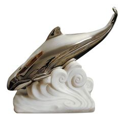 'Diving Whale,' Art Deco Bronze and Marble Sculpture by Bouraine | 1stdibs.com