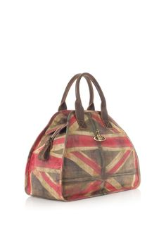 Union Jack Bag / Created in the Vintage Flag Print that has become synonymous with Vivienne Westwood over the years. This Autumn/Winter 2012-13 Vivienne introduces the Union Jack Bag. Crafted in leather, with distressed brown leather and Orb engraved studded detailing, this bag unzips to reveal Vivienne's famous grey scribble Orb lining.  The handles of this bag measure 38cm.