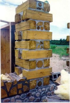 "Stackwall corners were one of the first methods of building cordwood walls. You built one of these on each corner and then infilled between. This 24"" beauty was erected by Bob & Sheryl Gormley of Minnesota. www.cordwoodconstruction.org"