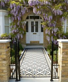 Victorian floor tiles and contemporary geometric ceramic tiles. Specialists in the design and supply of mosaic tile schemes. Victorian Front Garden, Victorian Door, Victorian Tiles, Edwardian House, Front Garden Path, Front Path, Front Door Steps, Driveway Entrance Landscaping, Yard Landscaping