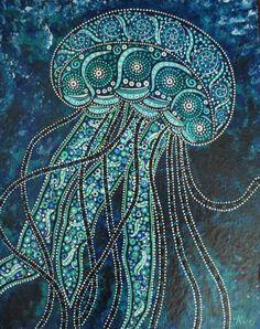 Méduse océan print art bleu profond turquoise par DreamtimeStudios