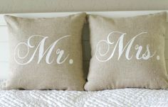 Mr. and Mrs. Pillow Cover choice of Mr. or by larksongcreations, $24.00