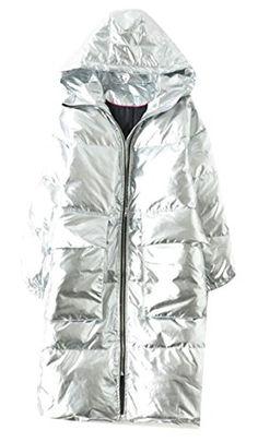 dbc1eb9108fc0 MLG Womens Winter Solid Color Metallic Liquid Down Coat Silver XS