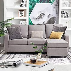 HONBAY Convertible Sectional Sofa Couch Modern Linen Fabric L-Shape Couch for Small Space Grey (Gainsboro) - Tiny House Builder Couches For Small Spaces, Small Sofa, Small L Shaped Couch, Bedroom Couch, Living Room Sofa, Dining Sofa, Bedroom Seating, Chaise Sofa, Couch Sofa