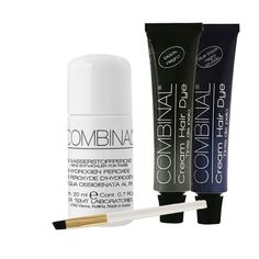 Combinal Cream Hair Dye Set (Black & Blue Black) .5 oz with Brush & 5% Hydrogen Peroxide .7 oz. Combinal Cream Hair Dyes penetrate deep into the hair structure. Delivers maximum color intensity. Long lasting glossy shine and high coverage results, lasts up to 8 weeks, results in 8 to 10 minutes. 5% Peroxide helps achieve correct consistency when blending two products together. Set includes 1 tube each of Black and Blue Black, applicator brush, and one bottle of Peroxide.