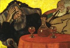 My Father and Uncle Piacsek Drinking Red Wine, 1907 Oil, cardboard, wooden