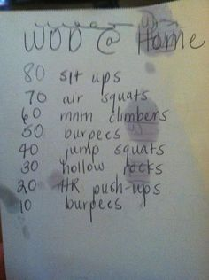 WOD at home.  Somebody got that paper all sweaty!  Haha!  Good sign!  I don't always have time to get to the box