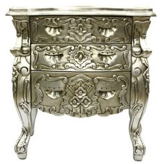 Rococo Bedside Table Silver Leaf