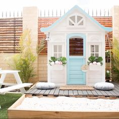 My Favourite Kmart Cubby House Hacks - Kmart Cubby House hacks renos and makeovers – Oh So Busy Mum - Kids Cubby Houses, Kids Cubbies, Play Houses, Backyard Playground, Backyard For Kids, Backyard Ideas, Beach House Pictures, Diy Playhouse, Small Space Interior Design