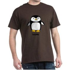 Cafepress Personalized Penguin Dark T-Shirt, Size: Small, Brown
