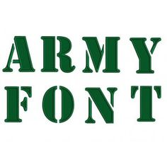 Army Machine Embroidery Filled Upper Case Font 1 2 3 inches