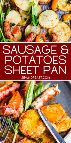 Italian Sausage Sheet Pan Dinner | Italian pinwheel sausage is layered on top of thin sliced potatoes with cherry peppers, and extra virgin olive oil. This super simple recipe is perfect for a weeknight meal! #sheetpandinner #italiansausagerecipes #potatorecipes #sausage #simpledinner Easy Homemade Recipes, Healthy Recipes, Italian Potatoes, Italian Sausage Recipes, Healthy Weeknight Meals, Sliced Potatoes, Best Dinner Recipes, Italian Dishes, Super Simple