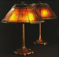 Tiffany Studios Favrile Glass Shades, Cast Bronze Base Table Lamp