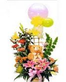 Mixed flowers basket with teddy for birthday. Fast and same day gifts delivery to Chennai on your chosen date. Visit our site : www.flowerschennai.com/Flower-baskets.php