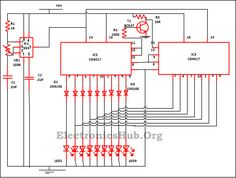 "LED Knight Rider Circuit: This easy circuit complies 9 LED  attached like a ""knight rider scanner mode"". This circuit can employ in the front side of a car. For more information, visit http://www.electronicshub.org/led-running-lights-circuit/"
