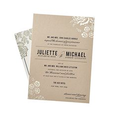 Brides: Wedding Style Inspiration: Summer Garden Party | Letter pressed invite with platinum foil | Photo by Diane Fields