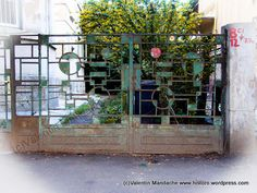 Wrought iron gate with cubist pattern, Bucharest